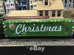 MTH 30-70107 50' Double Door Plugged Boxcar Set Christmas with LED Lights Set