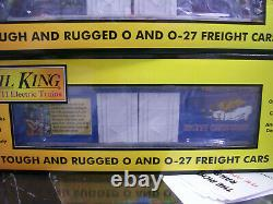 MTH RailKing Christmas 4-Car 50' Double Door Plugged Boxcar Set With LED Lights