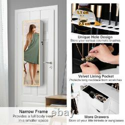 Mirrored Wall & Door Mounted Jewelry Cabinet Organizer Storage withLED Light Xmas
