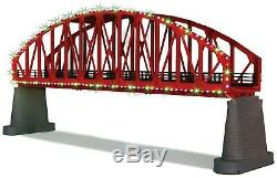 Mth 40-1115 Red Steel Arch Bridge With Led Christmas Lights O Gauge