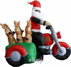 NEW 5.5 ft. Long Santa Motorcycle Reindeer Airblown Inflatable Christmas Lighted