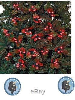 NEW 60 Holly & Berry Red LED Christmas Tree String Fairy Lights 4.5m Free P&P