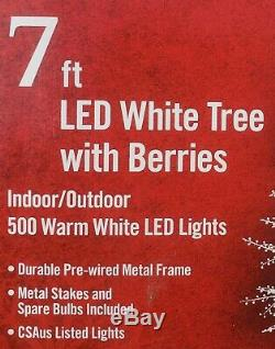 NEW Christmas 7 Foot PreLit White Branch Tree with Berries Twig Tree LED Lights