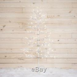NEW- GE 6.5ft Winterberry White Artificial Christmas Tree with 200 LED Lights