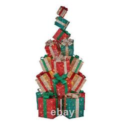 OUTDOOR GIFT BOX STACK LED Christmas Yard Decoration White Twinkle Lights