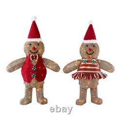 OUTDOOR GINGERBREAD MAN GIRL Christmas Yard Decoration White LED Lights Set of 2