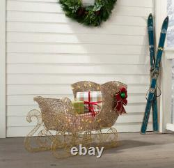 OUTDOOR GOLD SANTA SLEIGH Christmas Yard Decoration White LED Lights