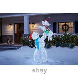 OUTDOOR SNOWMAN WITH DOG Christmas Yard Decoration Cool White LED Lights