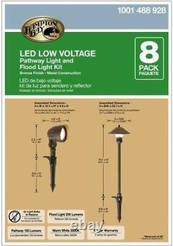 Outdoor Walkway Path Lighting 8 Pack LED Low Voltage Garden Landscape Kit Lights