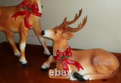 Pair of Blow Mold Reindeer Deer Standing Laying LED Christmas 27 Small Light Up