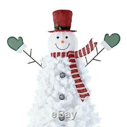 Pre-Lit 6.5' Artificial Christmas Tree Snowman With 140 White LED Lights & Stand