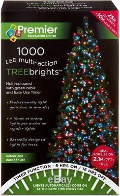 Premier 1000 LED Multi-Action TreeBrights Christmas Tree Lights with Timer MULTI