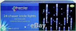 Premier Christmas Indoor Outdoor 24 Chaser Icicle Lights with 72 Blue LEDs