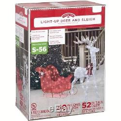 Reindeer Sleigh LED Lights Christmas Outdoor Lighted Holiday Yard Decoration Set