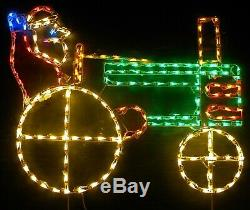 Santa on Green Farm Tractor Christmas Outdoor LED Lighted Decoration Wireframe