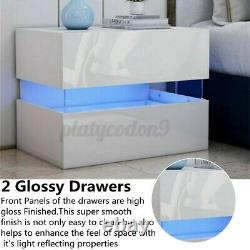 Set of 2 / 1 High Gloss Nightstand withLED Lighting 2 Drawers Modern Bedside Table