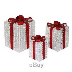 Set of 3 Crystal Ice LED Lighted Gift Boxes Display Outdoor Christmas Yard Decor