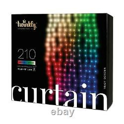 Twinkly 210 LED RGB White 3.5x7 ft Curtain Lights, Bluetooth WiFi Control