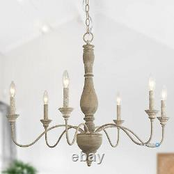 Wood Chandelier French Country Ceiling Pendant Lighting 6 Light Fixture Kitchen