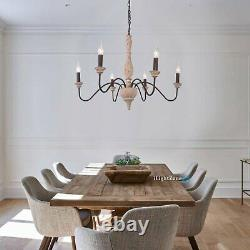 Wood Chandelier Rustic Pendant Light French Country Candle-Style Fixture Home US