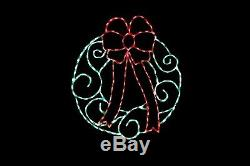 Wreath LED Christmas light display metal wireframe outdoor yard lawn decoration